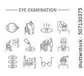eye examination. line icons set.... | Shutterstock .eps vector #507130375
