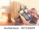 worker checking and scanning... | Shutterstock . vector #507130699