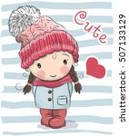 cute cartoon girl in a hat and... | Shutterstock .eps vector #507133129
