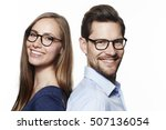 beautiful couple in spectacles  ...   Shutterstock . vector #507136054