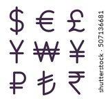 Set Of Bold Currency Signs....