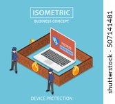 isometric 3d flat laptop... | Shutterstock .eps vector #507141481