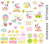 cute girl flamingo scrapbook... | Shutterstock .eps vector #507141631