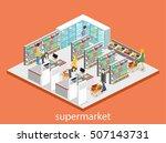 isometric interior of grocery... | Shutterstock .eps vector #507143731