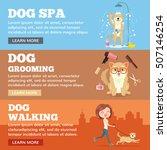 Stock vector dog grooming dog service vector flat cartoon illustration banners set 507146254