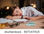tired exhausted young... | Shutterstock . vector #507147415