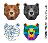 polygon triangle bear head...   Shutterstock .eps vector #507147931