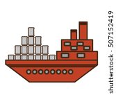 ship boat with barrels oil icon ... | Shutterstock .eps vector #507152419