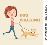 Stock vector dog walking service vector flat cartoon illustration 507153697