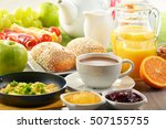 breakfast served with coffee ... | Shutterstock . vector #507155755