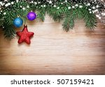 christmas background with fresh ... | Shutterstock . vector #507159421