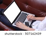 woman sit on sofa with use... | Shutterstock . vector #507162439