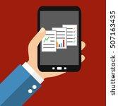 hand holding smartphone ... | Shutterstock . vector #507163435