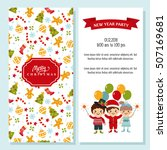 christmas card with funny kids... | Shutterstock .eps vector #507169681