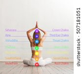woman meditating in lotus... | Shutterstock . vector #507181051