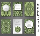 set of stylish business card... | Shutterstock .eps vector #507195217