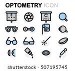 vector flat line optometry... | Shutterstock .eps vector #507195745