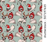 pug dog. seamless vector... | Shutterstock .eps vector #507197635
