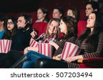 two friends in the cinema on... | Shutterstock . vector #507203494