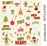 merry christmas and happy new... | Shutterstock .eps vector #507211939
