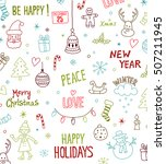 merry christmas and happy new... | Shutterstock .eps vector #507211945