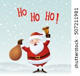 santa claus with a bag and bell.... | Shutterstock .eps vector #507211981