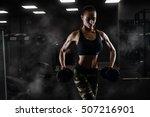 fitness girl exercising with... | Shutterstock . vector #507216901