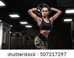 fitness girl exercising with... | Shutterstock . vector #507217297