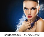 beautiful young woman with... | Shutterstock . vector #507220249