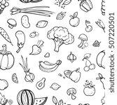 fruit and vegetable  vegan food ... | Shutterstock .eps vector #507220501