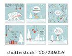set of 6 cute gift cards and... | Shutterstock .eps vector #507236059
