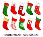 christmas socks. vector striped ... | Shutterstock .eps vector #507236821
