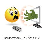 smiley ball watch horror movie. ... | Shutterstock .eps vector #507245419