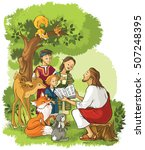 jesus reading the bible to... | Shutterstock .eps vector #507248395