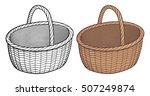 empty wicker basket. stylized... | Shutterstock .eps vector #507249874