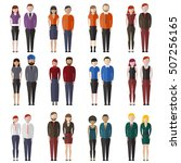 set of diverse business people... | Shutterstock .eps vector #507256165