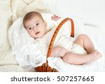 baby portrait lie on white... | Shutterstock . vector #507257665