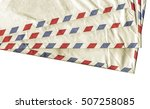 Small photo of Vintage looking Airmail letter envelope isolated over white background