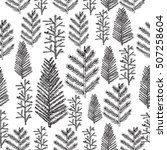 Seamless pattern with christmas tree and pine fir branches, hand drawn vector illustration, winter holiday background