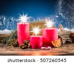 christmas candle lights and... | Shutterstock . vector #507260545