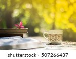 cup of coffee with flower desk... | Shutterstock . vector #507266437