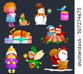 characters set merry christmas... | Shutterstock .eps vector #507274675