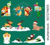 set animals winter holiday... | Shutterstock .eps vector #507274855