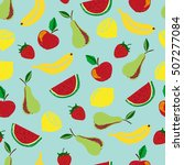 colorful doodle fruits seamless ...   Shutterstock .eps vector #507277084