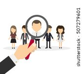 hiring staff concept. hand with ... | Shutterstock .eps vector #507279601