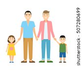 isolated gay family. two... | Shutterstock .eps vector #507280699