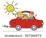 car and children  vector... | Shutterstock .eps vector #507286975