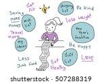 cute girl planning her future... | Shutterstock .eps vector #507288319