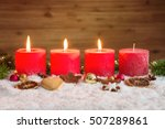 four red advent candles with...   Shutterstock . vector #507289861