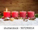 four red advent candles with... | Shutterstock . vector #507290014